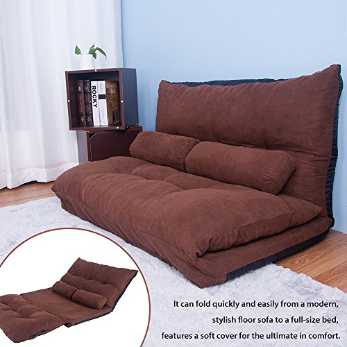 Harper & Bright Designs Adustable Foldable Sleeper Chair Lazy Sofa Folding Futon Sofa Bed Video Gaming Sofa Chair with Two Pillows (Brown) ()