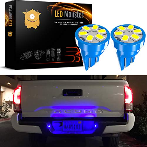 LED Monster 2x T10 194 Wedge Blue LED Lights Bulbs for License Plate Lamps License Frame Tag Number Plate (2)