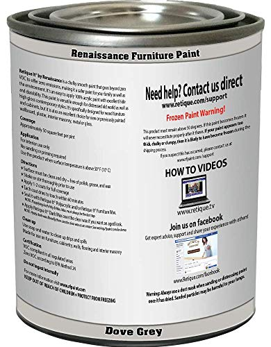 Retique It Chalk Furniture Paint by Renaissance DIY, 16 oz (Pint), 04 Dove Grey