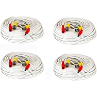 4 Pack of 150ft 150 Feet All-In-One Siamese CCTV Security Camera BNC Video and Power Cable for Surveillance System