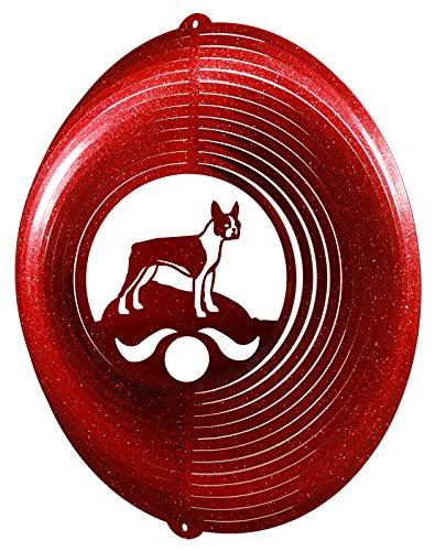 BOSTON TERRIER Circle Swirly Metal Wind Spinner (Metal Sculpture Terrier)