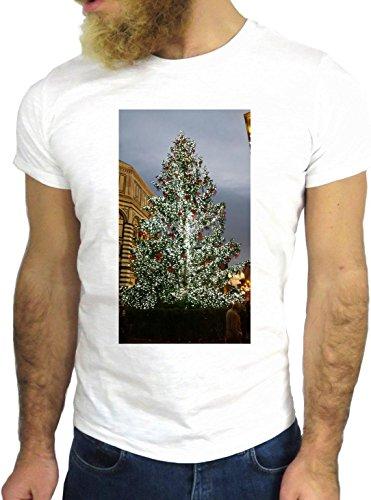 T SHIRT JODE Z1580 CHRISTMAS TREE CITY WINTER LIGHTS COLD FUN COOL FASHION NICE GGG24 BIANCA - WHITE M