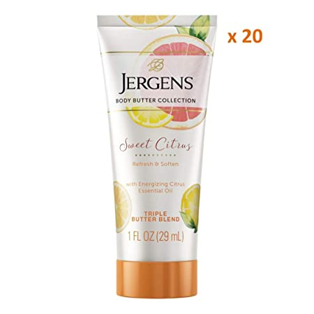 Jergens Sweet Citrus Body Butter Moisturizer, 20-pack, 1 Ounce Travel Lotion, with Essential Oil, for Indulgent Moisturization