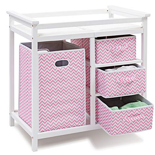 Costzon Baby Changing Table, Infant Diaper Changing Table Organization, Diaper Storage Nursery Station with Hamper and 3 Baskets (White+Pink)