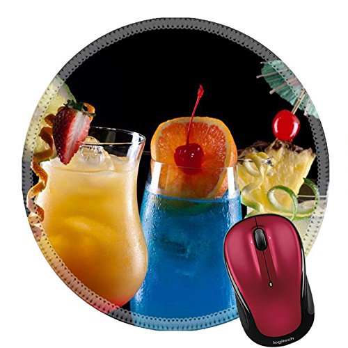 Liili Round Mouse Pad Natural Rubber Mousepad Tequila Sunrise Blue Lagoon and Bahama Mama cocktails over black Photo 14535832