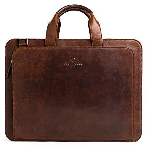 OFFERMANN Ledertasche Businesstasche Workbag 2 Handles als Umhängetasche for Men inklusive 15 Zoll Laptopfach 8 Liter Chestnut Brown