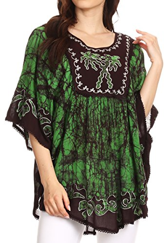 Sakkas 17030 - Lynda Two Tone Batik Embroidered Palm Tree Peasant Top,Chocolate / Green,One Size Regular