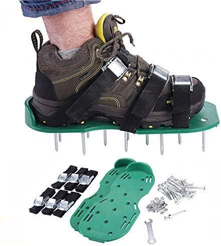 G-BAR - Aireador de Suelo Suelto para jardín, 3 Correas de Hombro Ajustables, tamaño Universal, 26 Clavos para inflar el césped y el Patio, Pinchos de césped, Zapatos aireadores de césped