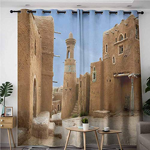 AndyTours Sliding Door Curtains,Desert,Batu Reconstruction of Ancient Capital City of Golden Horde Russia,Insulated with Grommet Curtains for Bedroom,W72x84L,Pale Brown Pale Blue]()