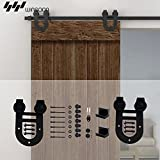 WINSOON Modern Single Interior Sliding Doors Hardware Pocket Barn Door Kit Horseshoe Style (10FT /120' 1 Door Track Kit)