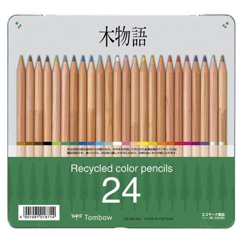 (まとめ買い) トンボ鉛筆 木物語 缶入色鉛筆 24色 CB-RE24C 【×3】 B01I7SJ55W