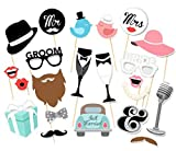 Elfun(TM) Wedding Party Photo Booth Props Kit Mr and Mrs Bride and Groom on Sticks -22count by Elfun