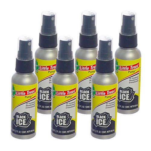 Little Trees 2 Oz. Pump Spray Car, Home and Office Air Freshener, Black Ice (Pack of 6) (Spray Black Ice)