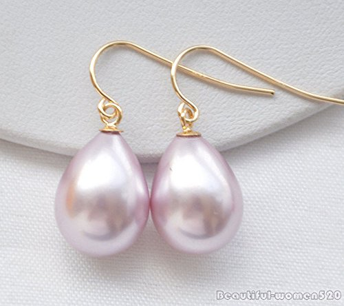 Lavenderr X0353 16mm drip south sea shell pearl dangle earring (Pearl South Sea Rings Mabe)