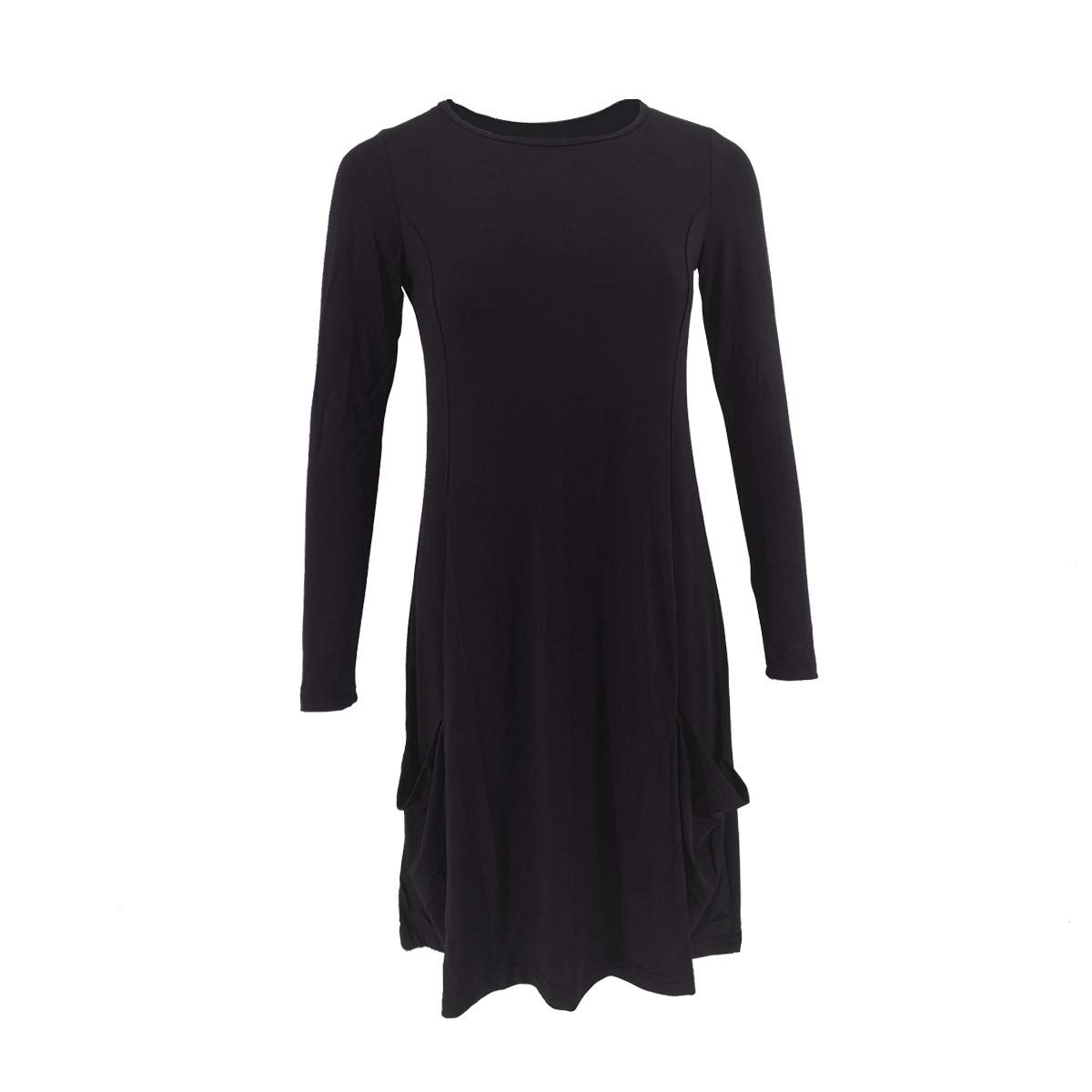 Skang Casual Robe Femme Grande Taille Robe Pull Hiver Solide Pull Oversize Tunique Mini Robe Sweat Manches Longues Col Rond Automne Tunique avec Poches Chaude Casual Mini Dress