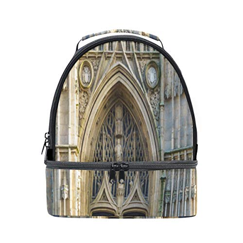 (Bento Lunch Waterproof Romance Gothic Architecture Church Reusable Double Layer Handbags Women Picnic Clear Lunch Cooler Bag Work For Adult Case With Shoulder Strap )