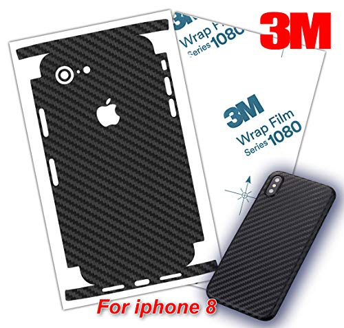 Carbon Fiber 3M 1080 Film iPhone Skin Protective wrap Around Edges Cover Black Skin for iPhone 7, 7 Plus, 8, 8 Plus, X, XR, Xs Max(iPhone Xs Max)