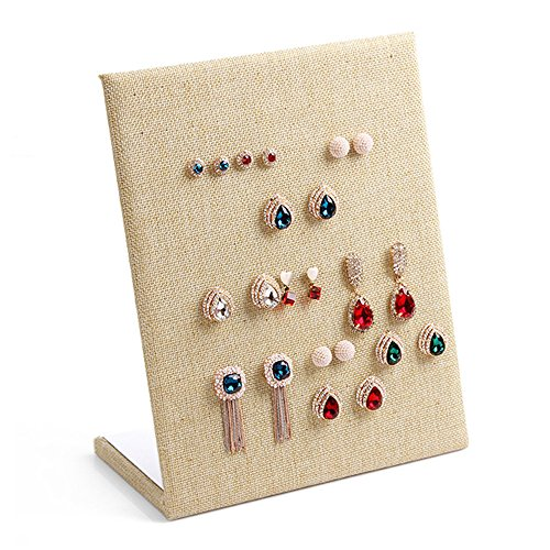New Wayzon 30-Pair L-Shape Earrings Display Rack Organizer Jewelry Stand Holder Tray(Linen)