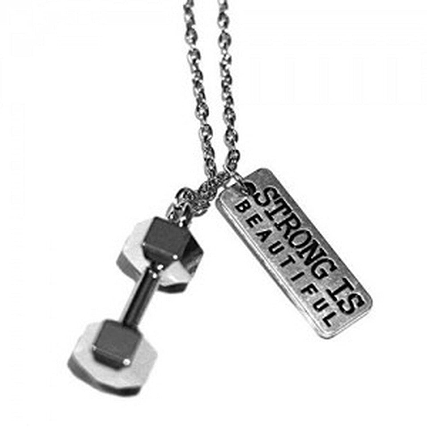 Original Strong Is Beautiful Necklace With Weight Lifting Barbell ...