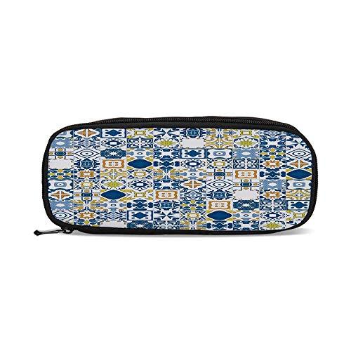 (Yellow and Blue,Mosaic Portuguese Azulejo Mediterranean Arabesque Effect Decorative,9.4
