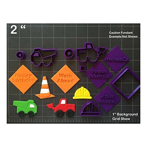 Construction Theme Fondant Cutter Set / Cupcake Topper /Hard Hat Dump Truck Sign