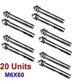 20x Qrity Expansion Bolts, Stainless Steel Anchor Expansion Bolt Screws Nuts M6x60mm