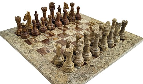 (Coral Stone & Red Onyx Marble Staunton Chess Set- 16