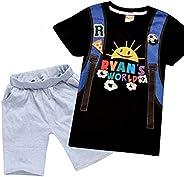 BackStri Little Boys Ryans World Short Sleeve Red T-Shirt Toddler Tee 3-8T