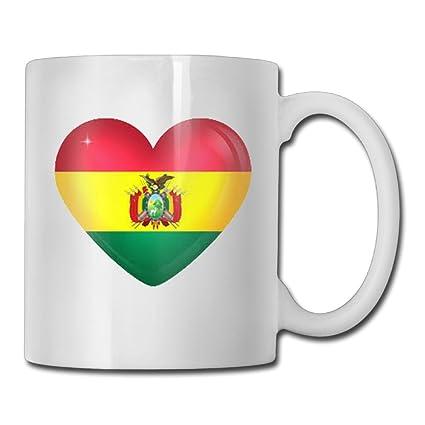 538d00805 Amazon.com: Coffee Mug, Bolivia Love Flag Funny Ceramic White Tea Cup -  Office, Home, Birthday Gift,11 OZ: Home & Kitchen