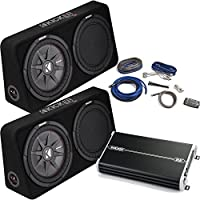 Kicker Bass Package - Two 43TCWRT124 12 Thin Loaded Subwoofer w/ radiators, DXA 1500 Watt Amplifier, 4-AWG Wiring Kit