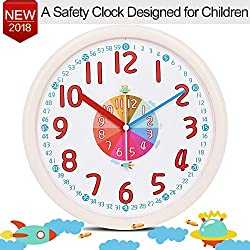 Kids Wall Clock Baby Nursery Large 12 Wall Clock In Kid's Room Clock Bedroom Silent Non Ticking Analog Quartz Home Colorful Read Learn Time for Unisex Kid Room/Nursery Playroom/School(Beige)