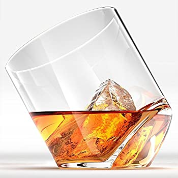 Rocker Whiskey Glasses, Scotch Glasses By Ashcroft - Set of 2. Unique, Elegant, Dishwasher Safe, Glass Liquor or Bourbon Tumblers. Ultra-Clarity Glassware.