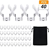Jovitec 40 Pieces Stainless Steel with Plastic Finish T8 Tube U Shape Clips Holder Fluorescent LED Light Bulb Tube Holder Lampholder Support Clamps