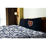 3 Piece NFL Bears Anthem Sheet Twin Set, Football Themed Bedding Sports Patterned, Team Logo Fan Mer
