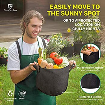 Great for Drainage /& Aeration Heavy Duty Thickened Nonwoven Gardening Pots Plant Pots with 1x Garden Spade 5 Pack GENGARDEN Planters /& Accessories 5 Gallon Grow Bags 400G