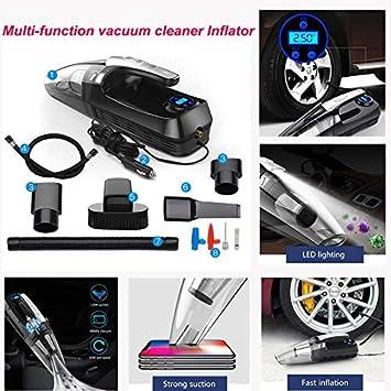 Foonee - Aspiradora 4 en 1 Ligera para Coche con compresor de Aire, inflador de neumáticos y luz LED, Alta Potencia 12 V 120 W