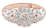 White Natural Diamond Cluster Flower Ring In 10k Rose Gold (0.34 Cttw) Ring Size - 10