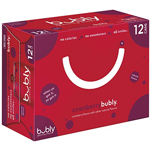 bubly Sparkling Water, Cranberry, 12 Fl Oz Cans, Pack of 12