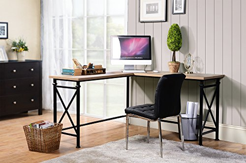 Homestar Banquo Corner Desk in Reclaimed Wood finish & Metal (Metal Wood Finish Table)