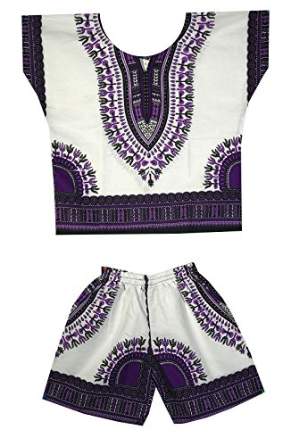 DecoraApparel Kids Dashiki Suit 2 to 5 years old set Baby Shirt with Short One Size (White Purple) by Decoraapparel