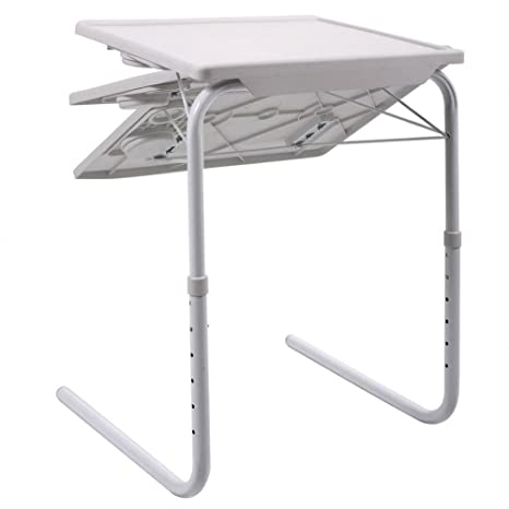 New Smart Table Mate Foldable Table Folding Table Mate Adjustable Tray White
