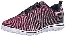 Propet Women's TravelActiv Xpress Sneaker, Navy/Pink, 10 4E US