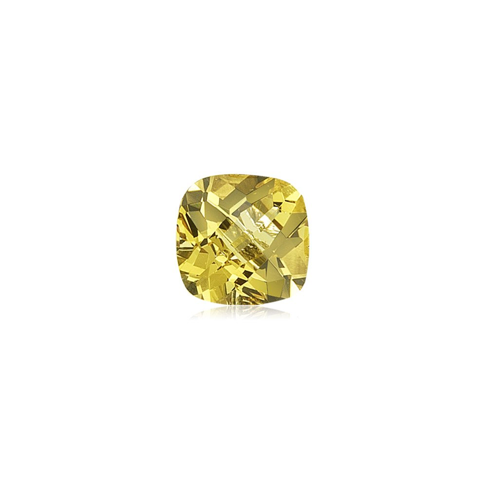 2.50-3.00 Cts of 9 mm AAA Cushion Checkered Yellow Beryl ( 1 pc ) Loose Gemstone