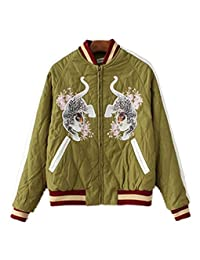 Crazycatz@Women Tiger Satin Embroidered quilted Bomber Jacket