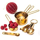 Modern Measuring Cups and Spoons Set, Gold - Stackable, Stylish Sturdy Stainless Steel (8-Piece) for Cooking and Baking