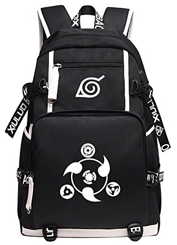 Gumstyle Naruto Book Bag with USB Charging Port Laptop Backpack Casual School Bag Black 1