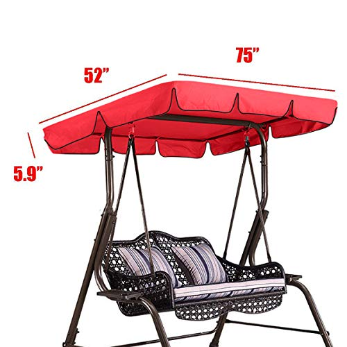 (Essort Swing Canopy, 2 to 3 Seaters Waterproof Anti-UV Swing Top Cover Canopy Replacement for Outdoor Porch Patio Swing and Garden Hammock, 75'' × 52'' × 5.9'' Red)