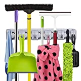 DILISS Mop and Broom Holder, Strongest Grippers Mop Broom Holders with 5 Ball Slots and 6 Hooks. Multipurpose Wall Mounted Organizer Storage Hooks, Ideal Broom Hanger for Kitchen Garden and Garage