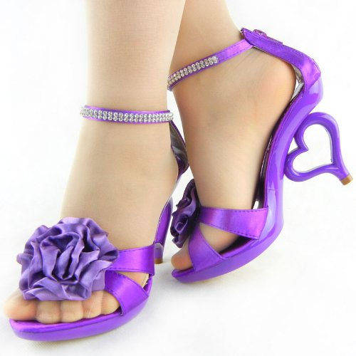 Show Shoes Strap Sandals Purple Colors 11 SM33101 Ankle Bride Story Flower Wedding Removable BAZrqxBvw