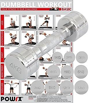 POWRX - 1 x Mancuerna cromada 4 kg - ideal para intensificar la FUERZA muscular -: Amazon.es: Deportes y aire libre